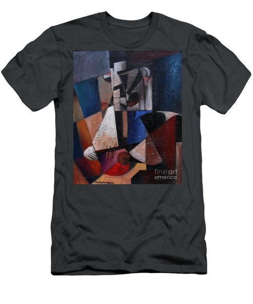 Men's T-Shirt (Athletic Fit) featuring the painting An Fear Lies An Gitar by Val Byrne