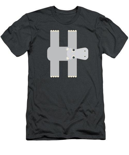 Animal Alphabet - Letter H - Hippo Monogram Men's T-Shirt (Athletic Fit)