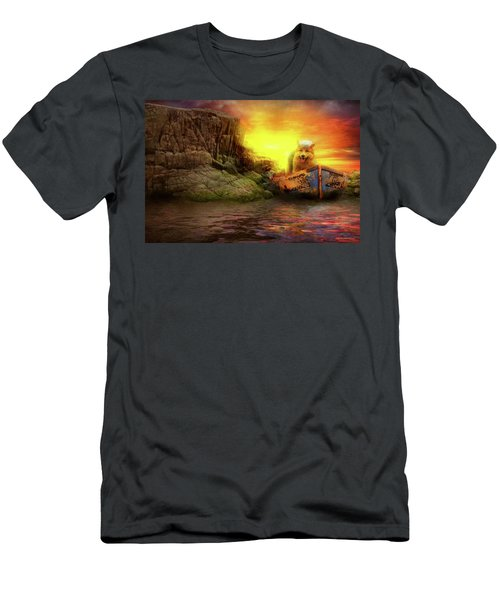 Men's T-Shirt (Athletic Fit) featuring the photograph Animal - Dog - Up The Creek Without A Pawdle by Mike Savad