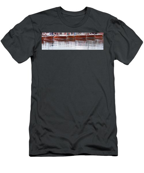 Antique Classic Wooden Boats In A Row Panorama 81112p Men's T-Shirt (Athletic Fit)