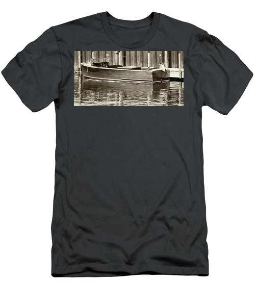 Antique Wooden Boat By Dock Sepia Tone 1302tn Men's T-Shirt (Athletic Fit)