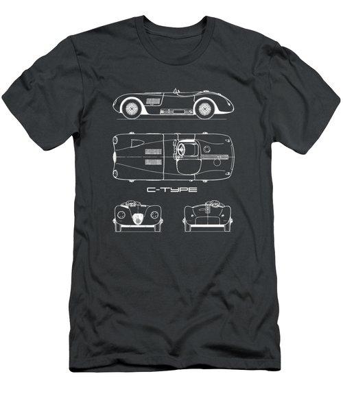 Jaguar C-type Blueprint - Black Men's T-Shirt (Athletic Fit)