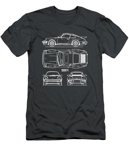 Porsche 911 Turbo Blueprint - Gray Men's T-Shirt (Athletic Fit)