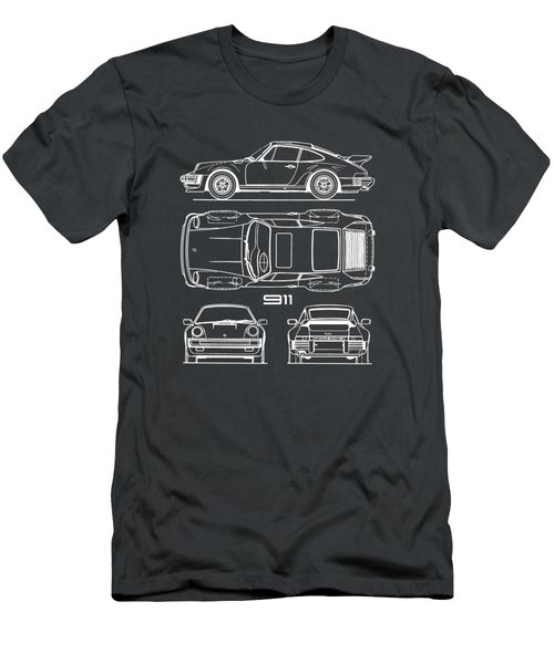 Porsche 911 Turbo Blueprint - Gray Men's T-Shirt (Athletic Fit)
