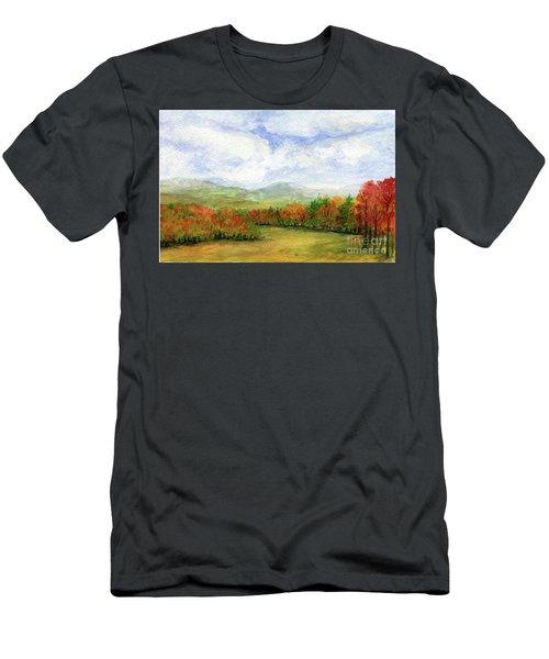 Autumn Day Watercolor Vermont Landscape Men's T-Shirt (Athletic Fit)