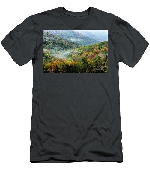 Autumn Hillsides With Mist Men's T-Shirt (Athletic Fit)