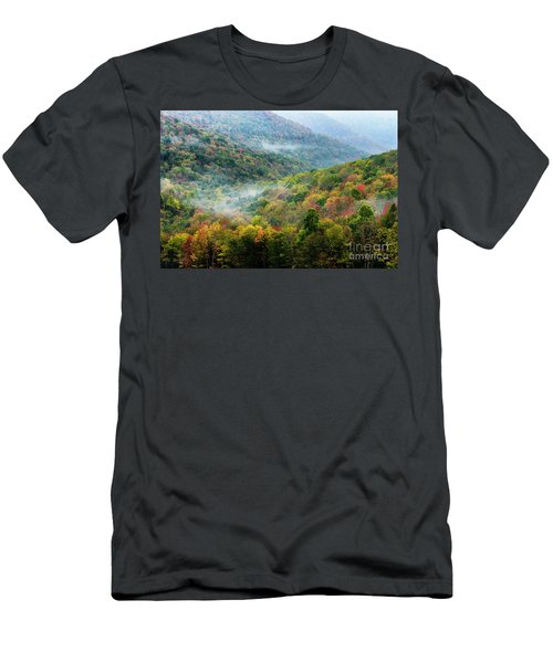 Autumn Hillsides With Mist Men's T-Shirt (Athletic Fit)