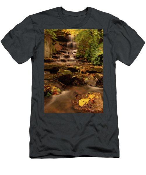 Men's T-Shirt (Athletic Fit) featuring the photograph Autumn Leaves West Milton Waterfall by Dan Sproul