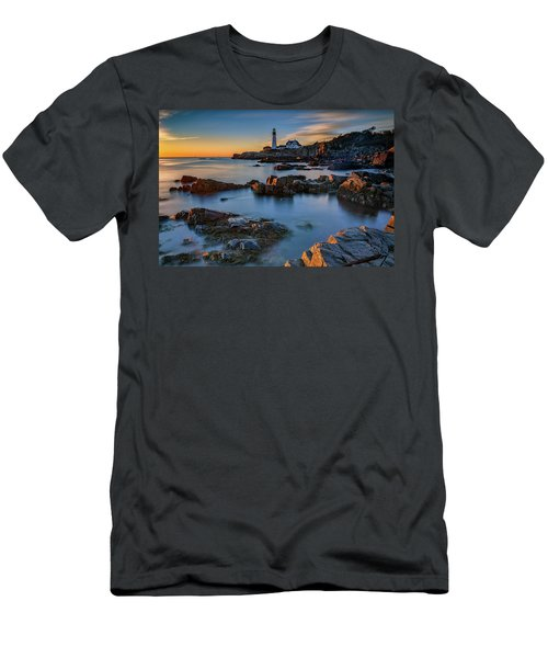Men's T-Shirt (Athletic Fit) featuring the photograph Autumn Morning At Portland Head Lighthouse  by Rick Berk
