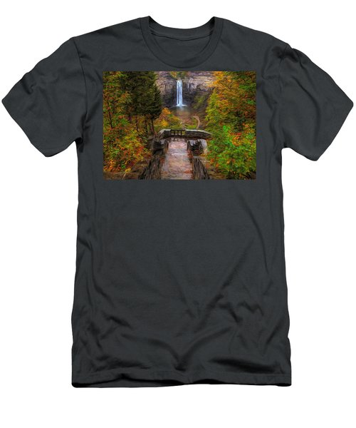 Men's T-Shirt (Athletic Fit) featuring the painting Autumn Morning At Taughannock Falls by Dan Sproul