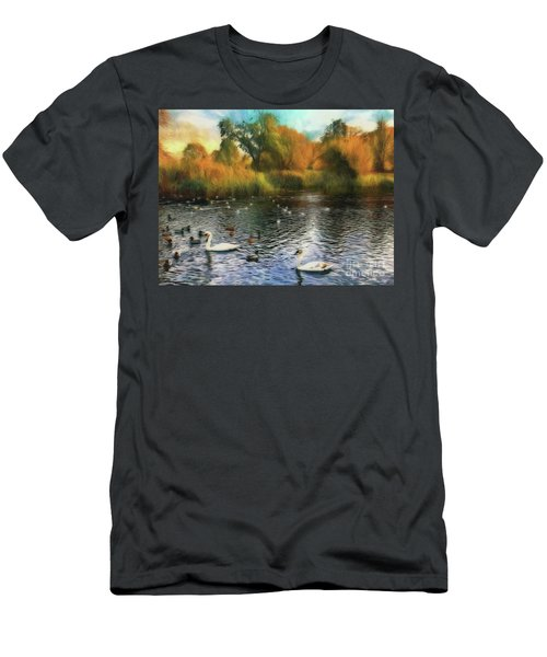 Men's T-Shirt (Athletic Fit) featuring the photograph Autumn On The Lake by Leigh Kemp