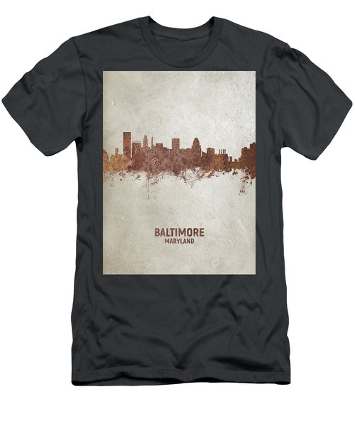 Baltimore Maryland Rust Skyline Men's T-Shirt (Athletic Fit)