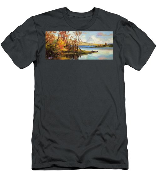 Men's T-Shirt (Athletic Fit) featuring the painting Banking On The Columbia by Steve Henderson