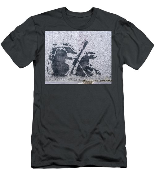 Men's T-Shirt (Athletic Fit) featuring the photograph Banksy Bazooka Rats by Gigi Ebert