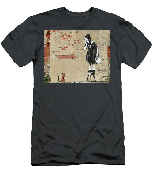 Men's T-Shirt (Athletic Fit) featuring the photograph Banksy New Orleans Girl And Mouse by Gigi Ebert