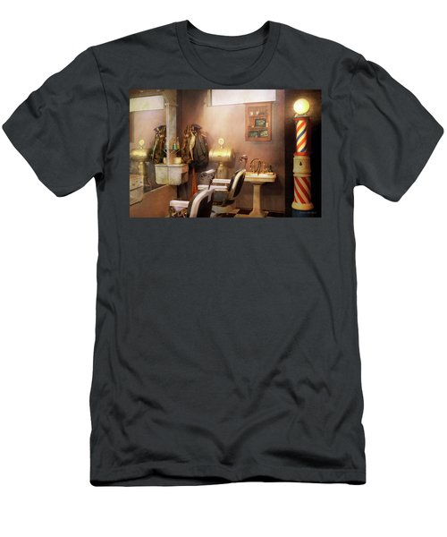 Men's T-Shirt (Athletic Fit) featuring the photograph Barber - Basement Barber by Mike Savad