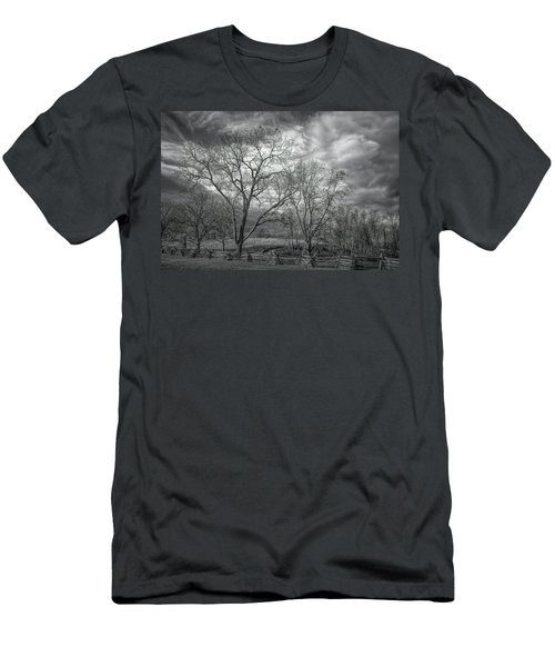 Men's T-Shirt (Athletic Fit) featuring the photograph Barren Fields by John M Bailey