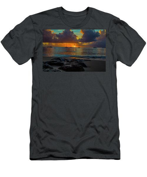 Men's T-Shirt (Athletic Fit) featuring the photograph Beach At Sunset by Stuart Manning
