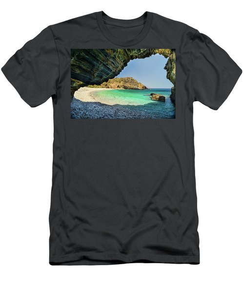 Almiro Beach With Cave Men's T-Shirt (Athletic Fit)