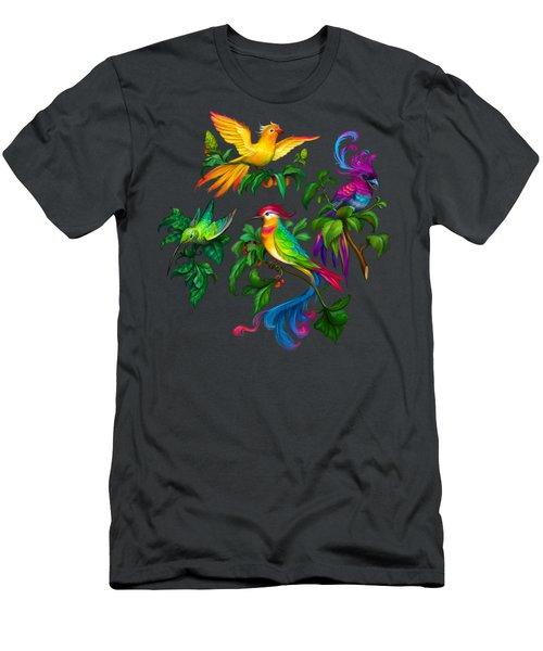 Beautiful Birdies  Exclusive Hi-res Pattern Men's T-Shirt (Athletic Fit)