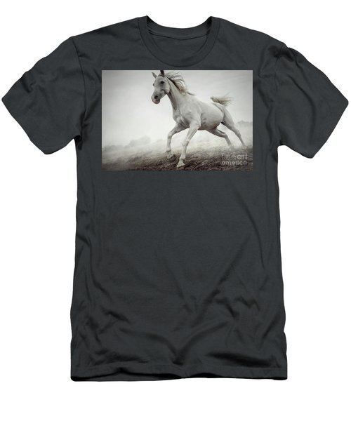 Men's T-Shirt (Athletic Fit) featuring the photograph Beautiful White Horse Running In Mist by Dimitar Hristov