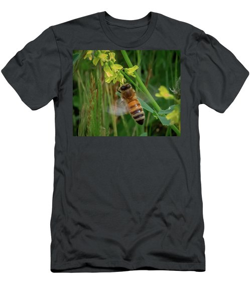 Men's T-Shirt (Athletic Fit) featuring the photograph Bee And Flower by Lora J Wilson