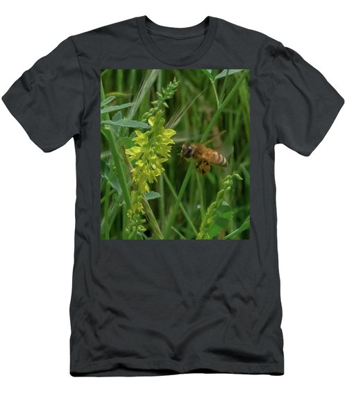 Men's T-Shirt (Athletic Fit) featuring the photograph Bee In Flight by Lora J Wilson