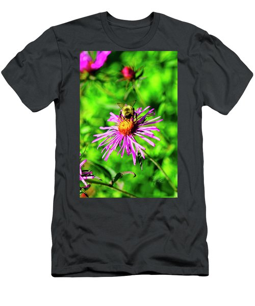 Men's T-Shirt (Athletic Fit) featuring the photograph Bee On Pink Flower by Meta Gatschenberger