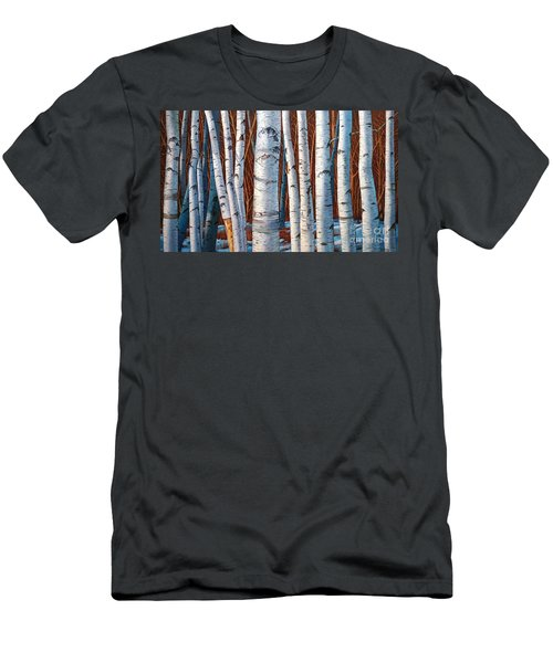 Birch Trees In Early Winter In Painting Men's T-Shirt (Athletic Fit)