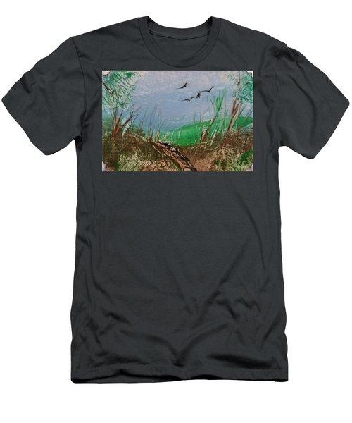 Birds Over Grassland Men's T-Shirt (Athletic Fit)