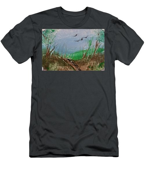 Birds Over Grassland Men's T-Shirt (Athletic Fit)