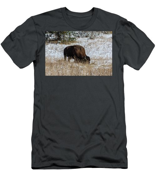 Men's T-Shirt (Athletic Fit) featuring the photograph Bison In The Snow by Pete Federico