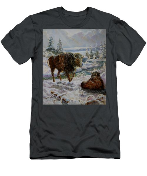 Bison In Yellowstone In The Winter Men's T-Shirt (Athletic Fit)