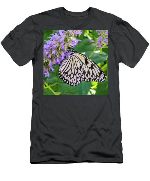 Black And White On Purple Men's T-Shirt (Athletic Fit)