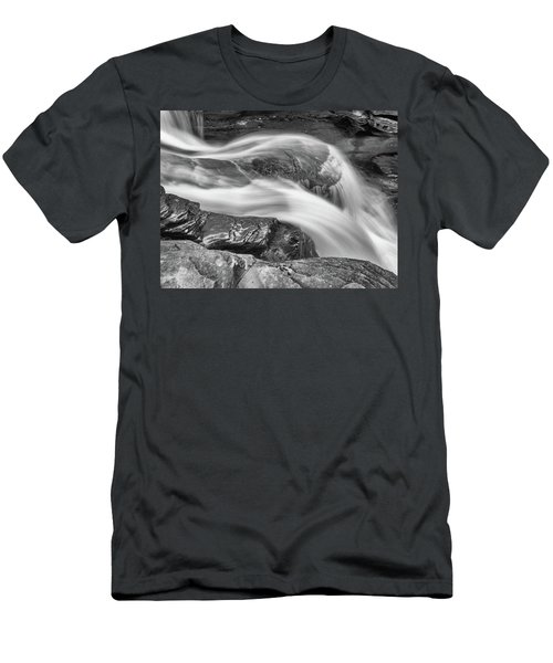 Black And White Rushing Water Men's T-Shirt (Athletic Fit)