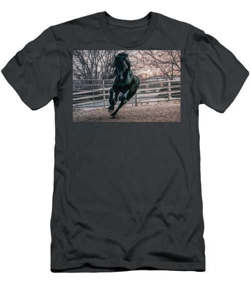 Black Stallion Cantering Men's T-Shirt (Athletic Fit)