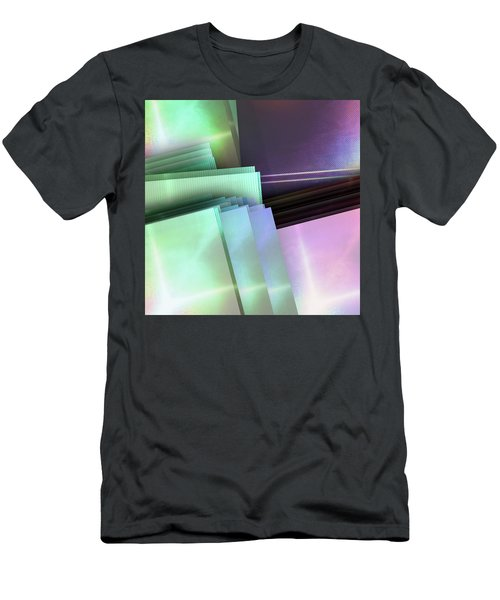 Blank Reflective Aluminum Plates. Blue, Pink And Purple. Fashion Abstract Background. Men's T-Shirt (Athletic Fit)
