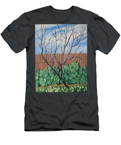 Blooming Peach In Our San Antonio Backyard Men's T-Shirt (Athletic Fit)