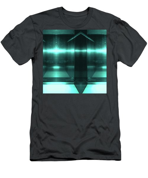Blue Aluminum Surface. Metallic Fashion Geometric  Background Men's T-Shirt (Athletic Fit)