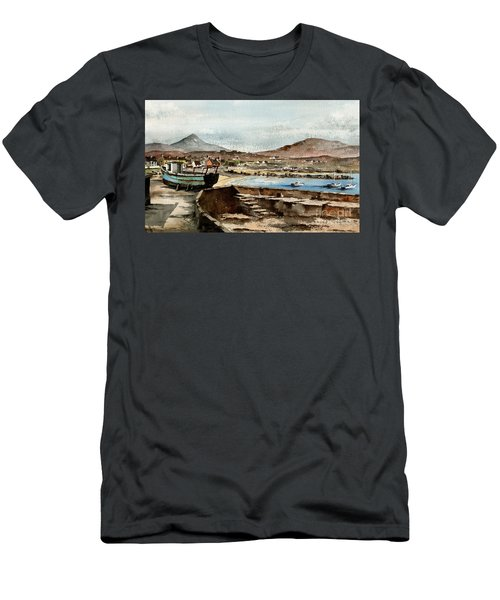 Men's T-Shirt (Athletic Fit) featuring the painting Blue Boat At Greystones Harbour by Val Byrne