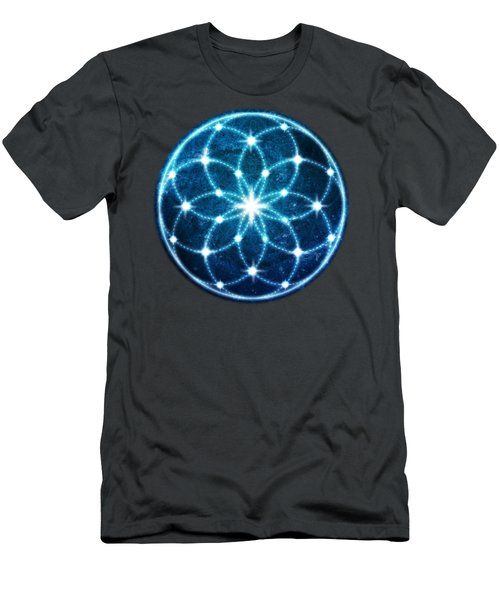 Blue Cosmic Geometric Flower Mandala Men's T-Shirt (Athletic Fit)