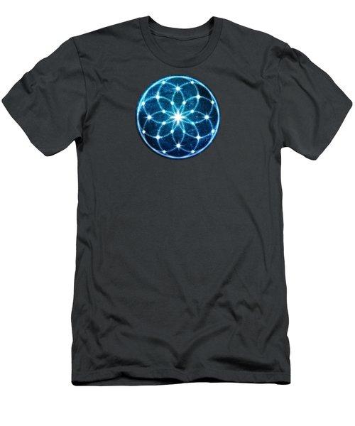 Blue Cosmic Geometric Flower Mandala Men's T-Shirt (Athletic Fit)