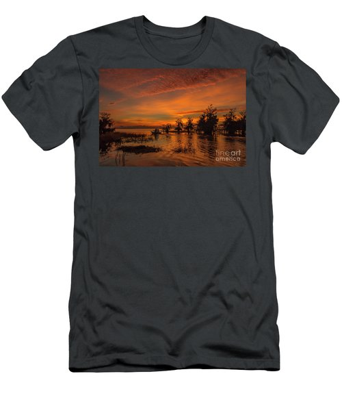 Blue Cypress Sunrise With Boat Men's T-Shirt (Athletic Fit)