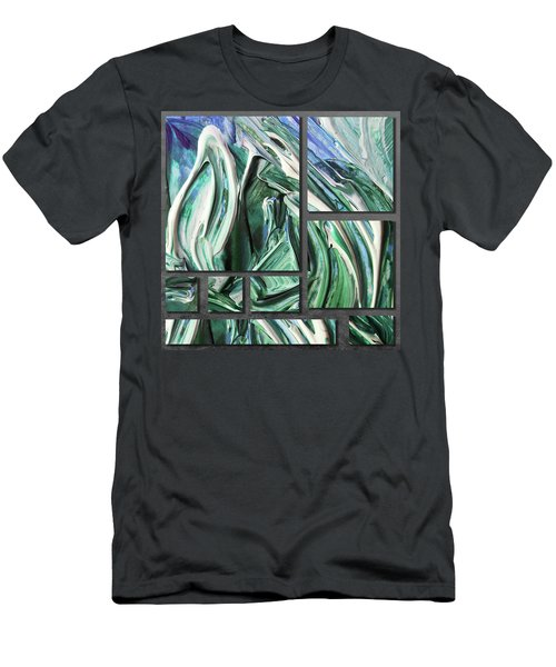 Blue Green Gray Abstract Collage Men's T-Shirt (Athletic Fit)