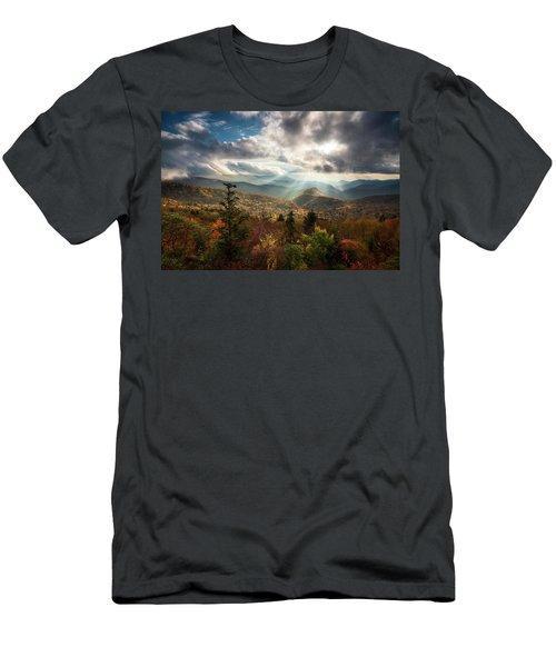 Blue Ridge Mountains Asheville Nc Scenic Autumn Landscape Photography Men's T-Shirt (Athletic Fit)