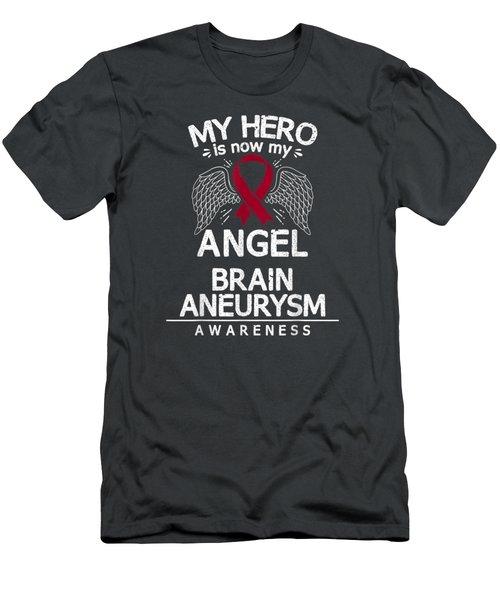 Brain Aneurysm Awareness Gift Burgundy Ribbon T-shirt Men's T-Shirt (Athletic Fit)