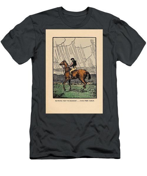 Men's T-Shirt (Athletic Fit) featuring the painting Brown Stallion, Omey by Val Byrne