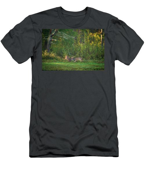 Men's T-Shirt (Athletic Fit) featuring the photograph Buck Battle by Jeff Phillippi