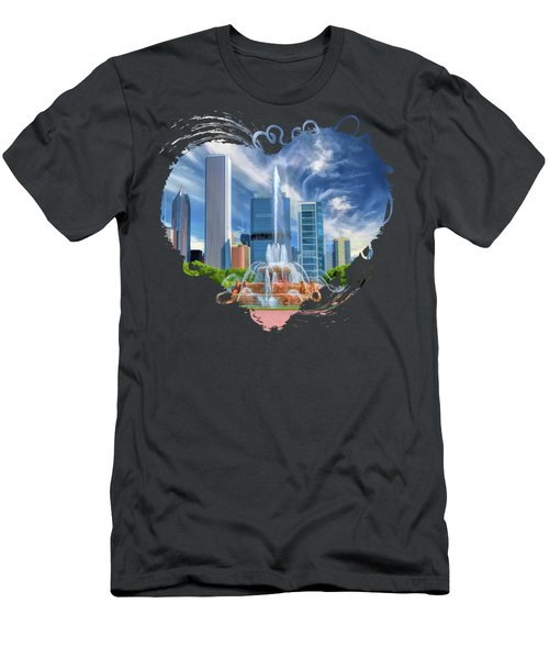Buckingham Fountain Chicago Skyscrapers Men's T-Shirt (Athletic Fit)