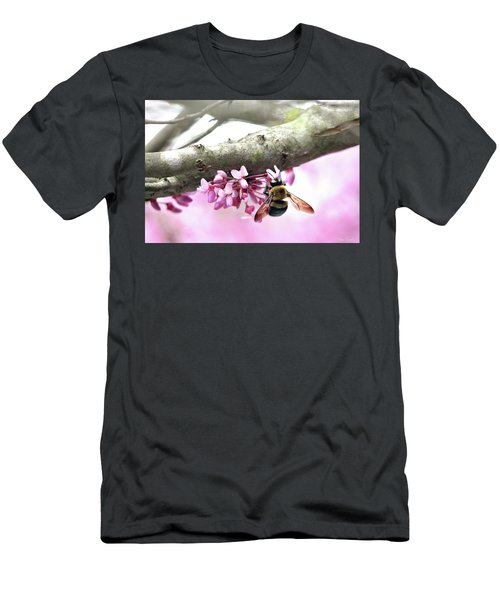 Bumblebee On Redbud Flower Men's T-Shirt (Athletic Fit)